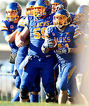 BROOKINGS, SD - NOVEMBER 9:  Zach Zenner #31 from South Dakota State University celebrates a touchdown with teammates against Indiana State University Saturday at Coughlin Alumni Stadium. (Photo by Dave Eggen/Inertia)