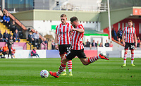 Lincoln City's Neal Eardley scores his side's equalising goal to make the score 1-1<br /> <br /> Photographer Chris Vaughan/CameraSport<br /> <br /> The EFL Sky Bet League Two - Lincoln City v Macclesfield Town - Saturday 30th March 2019 - Sincil Bank - Lincoln<br /> <br /> World Copyright © 2019 CameraSport. All rights reserved. 43 Linden Ave. Countesthorpe. Leicester. England. LE8 5PG - Tel: +44 (0) 116 277 4147 - admin@camerasport.com - www.camerasport.com