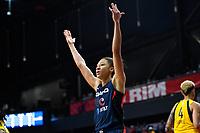 Washington, DC - Aug 8, 2019: Washington Mystics forward Aerial Powers (23) if fired up after being fouled on her way to the basket during 2nd half action of game between the Indiana Fever and the Washington Mystics. The Mystics defeat the Fever 91-78 at the Entertainment & Sports Arena in Washington, DC. (Photo by Phil Peters/Media Images International)
