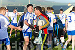 Father & Son Richard & Mark Quigley on opposite sides congratulate & commiserate after they played against each other in the South Kerry semi final in Portmagee on Sunday, Richard Quigley 52 has been lining out for the Valentia Young Islanders for over 35 years.