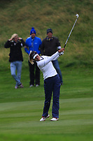 Annie Park of Team USA on the 18th during Day 2 Fourball at the Solheim Cup 2019, Gleneagles Golf CLub, Auchterarder, Perthshire, Scotland. 14/09/2019.<br /> Picture Thos Caffrey / Golffile.ie<br /> <br /> All photo usage must carry mandatory copyright credit (© Golffile | Thos Caffrey)