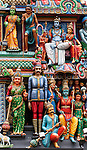 Sri Mariamman Temple 02 - Painted figures on the entrance gopuram tower, Sri Mariamman Temple, South Bridge Road, Chinatown, Singapore