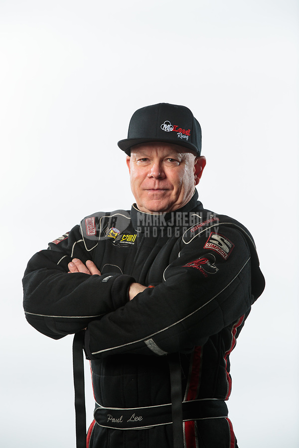 Feb 6, 2019; Pomona, CA, USA; NHRA funny car driver Paul Lee poses for a portrait during NHRA Media Day at the NHRA Museum. Mandatory Credit: Mark J. Rebilas-USA TODAY Sports