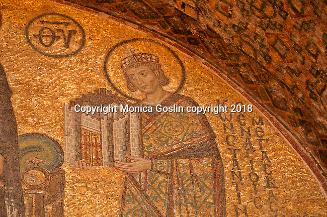 South Western entrance mosaic dating back to the 11th century, with a detail of emperor Constantine presenting a model of the city to Mary; Hagia Sophia in Istanbul