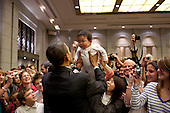 Tokyo, Japan - November 14, 2009 -- United States President Barack Obama greets the daughter of a U.S. embassy staff member at the Hotel Okura in Tokyo, Japan, Saturday, Nov. 14, 2009. .Mandatory Credit: Pete Souza - White House via CNP