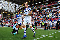 Dave Attwood and the rest of the Bath Rugby team run out onto the field. Gallagher Premiership match, between Bristol Bears and Bath Rugby on August 31, 2018 at Ashton Gate Stadium in Bristol, England. Photo by: Patrick Khachfe / Onside Images