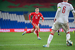 Cardiff - UK - 9th September :<br />Wales v Belarus Friendly match at Cardiff City Stadium.<br />Harry Wilson of Wales marks Belarus Captain Sergei Politevich in the second half.<br />Editorial use only