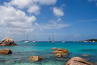 Seychelles, Island Praslin, Anse Lazio: sailing ship, catamaran, Anse Lazio Bay