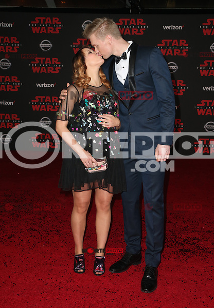 LOS ANGELES, CA - DECEMBER 9: Milla Pohjasvaara, Joonas Suotamo, at Premiere Of Disney Pictures And Lucasfilm's 'Star Wars: The Last Jedi' at Shrine Auditorium in Los Angeles, California on December 9, 2017. Credit: Faye Sadou/MediaPunch /NortePhoto.com NORTEPHOTOMEXICO