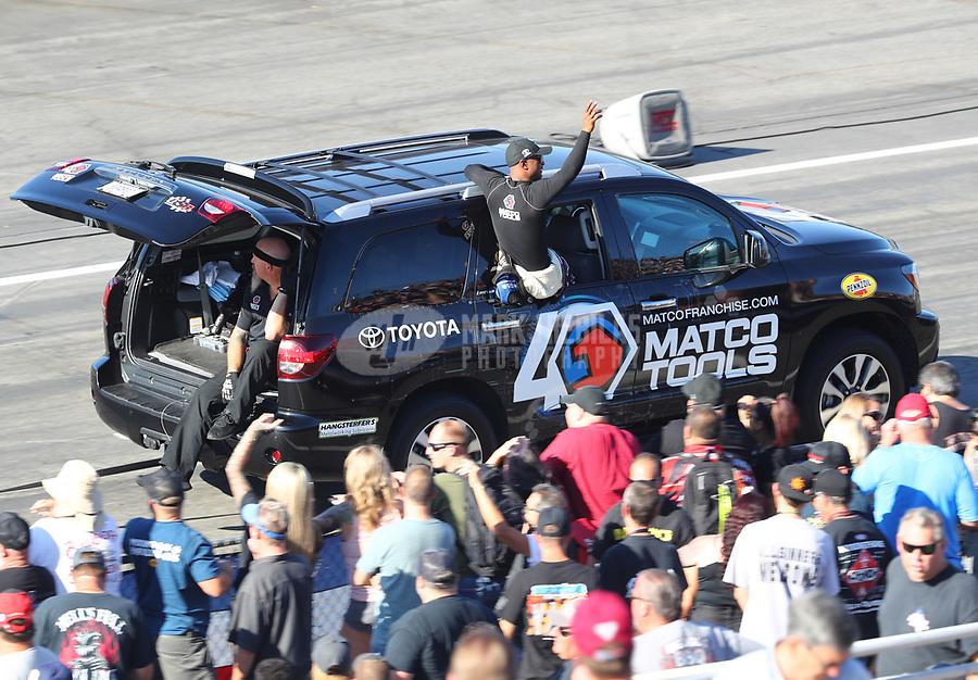 Nov 16, 2019; Pomona, CA, USA; NHRA top fuel driver Antron Brown during qualifying for the Auto Club Finals at Auto Club Raceway at Pomona. Mandatory Credit: Mark J. Rebilas-USA TODAY Sports