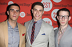 Josh Segarra, Derek Klena & Nick Blaemire.attending the after Party for Off-Broadway Opening Night Performance of Second Stage Theatre's 'Dogfight' at HB Burger in New York City.