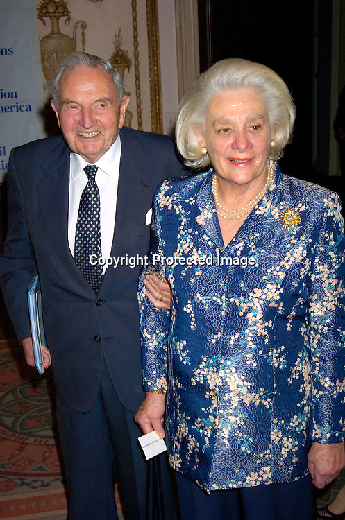 David Rockefeller and Happy Rockefeller ..at the United Nations Association of the USA Global Leadership Awards Dinner on September 30, 2004 at the ..Waldorf Astoria. Oprah Winfrey was honored with the ..International Philanthropist, Global Media Leader. ..Photo by Robin Platzer, Twin Images