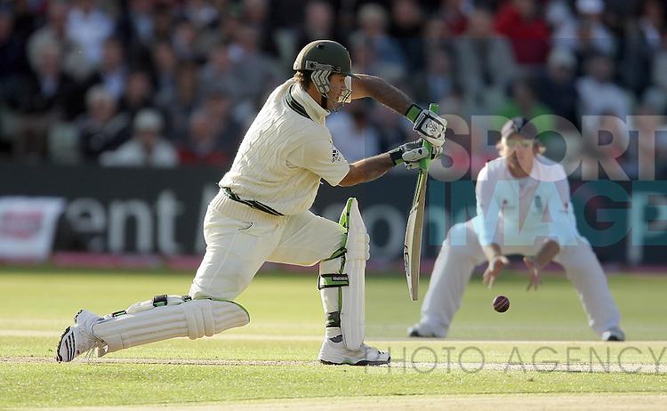 Australian batsman Ricky Ponting plays a defensive shot