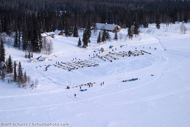 Aerial View of Teams Parked At Finger Lake Alaska.2004 Iditarod
