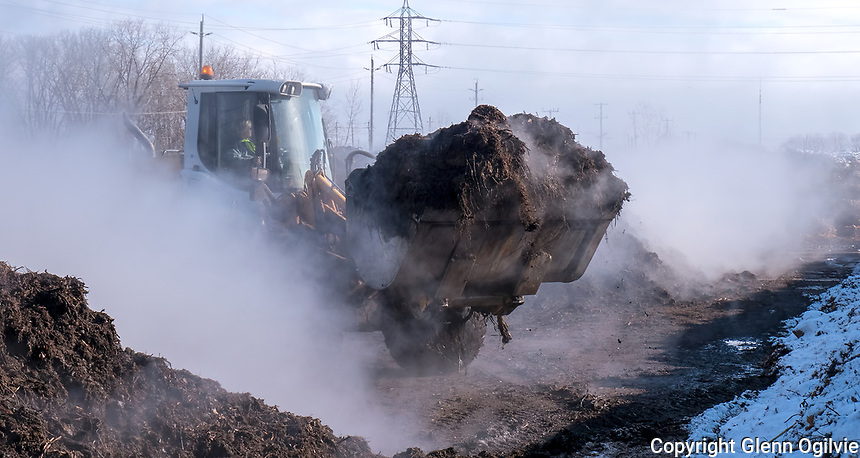 It takes a winter of turning and moving rows upon rows of leaf and garden waste to refine into working compost for the spring. An unidentified contractor turns the Andrew Street compost piles daily through the off season. The compost site closes Dec. 16 and reopens April 1.
