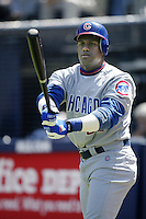 Sammy Sosa of the Chicago Cubs waits to bat during a 2002 MLB season game against the San Diego Padres at Qualcomm Stadium, in San Diego, California. (Larry Goren/Four Seam Images)