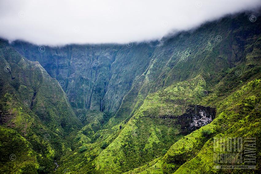 An aerial view of Mt. Wai'ale'ale on Kaua'i