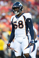 Landover, MD - August 24, 2018: Denver Broncos linebacker Von Miller (58) during preseason game between the Denver Broncos and Washington Redskins at FedEx Field in Landover, MD. The Broncos defeat the Redskins 29-17. (Photo by Phillip Peters/Media Images International)