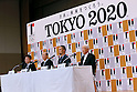 (L-R) Hidetoshi Maki,  Toshiro Muto, Kenjiro Sano, Kazumasa Nagai, JULY 24, 2015 : The Tokyo Organising Committee of the Olympic and Paralympic Games unveils the official emblem for the 2020 Tokyo Olympic and Paralympic Games at the forecourt of the Tokyo Metropolitan Assembly building in Tokyo, Japan, This event took place five-year before the Tokyo 2020 Olympics. (Photo by Sho Tamura/AFLO SPORT)