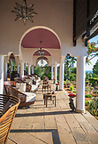 ZANZIBAR, Nungwi Beach, an outdoor Terrace with sofas and tables at the reception of Hideaway Resort