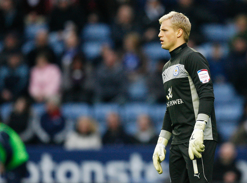 Leicester City's Kasper Schmeichel in action   ....Football - npower Football League Championship - Leicester City v Sheffield Wednesday - Saturday 09th March 2013 - King Power Stadium - Leicester....© CameraSport - 43 Linden Ave. Countesthorpe. Leicester. England. LE8 5PG - Tel: +44 (0) 116 277 4147 - admin@camerasport.com - www.camerasport.com