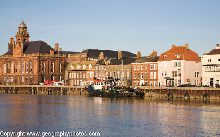 Historic buildings on the quayside of the River Yare, Great Yarmouth, Norfolk, England