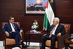 Palestinian President Mahmoud Abbas meets with the Swiss envoy to the peace process in the West Bank city of Ramallah on August 9, 2017. Photo by Palestinian President Office