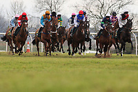 The field in racing action during the European Breeders Fund National Hunt Novices Hurdle
