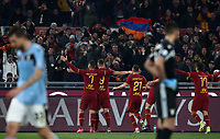 Football, Serie A: AS Roma - S.S. Lazio, Olympic stadium, Rome, January 26, 2020. <br /> Roma's captain Edin Dzeko (second from left) celebrates after scoring with his teammates during the Italian Serie A football match between Roma and Lazio at Olympic stadium in Rome, on January,  26, 2020. <br /> UPDATE IMAGES PRESS/Isabella Bonotto