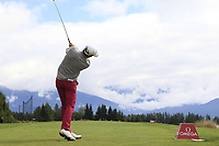 Alexander Bjork (SWE) tees off the 7th tee during Sunday's Final Round of the 2017 Omega European Masters held at Golf Club Crans-Sur-Sierre, Crans Montana, Switzerland. 10th September 2017.<br /> Picture: Eoin Clarke | Golffile<br /> <br /> <br /> All photos usage must carry mandatory copyright credit (&copy; Golffile | Eoin Clarke)