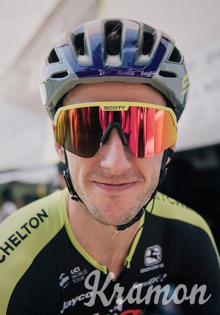 Adam Yates (GBR/Mitchelton-Scott) wearing retro glasses & helmet today in honor of the 60th birtday of bike (and apparel) manufacturer Scott Sports<br /> <br /> Stage 2: Mouilleron-Saint-Germain > La Roche-sur-Yon (183km)<br /> <br /> Le Grand Départ 2018<br /> 105th Tour de France 2018<br /> ©kramon