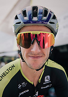 Adam Yates (GBR/Mitchelton-Scott) wearing retro glasses &amp; helmet today in honor of the 60th birtday of bike (and apparel) manufacturer Scott Sports<br /> <br /> Stage 2: Mouilleron-Saint-Germain &gt; La Roche-sur-Yon (183km)<br /> <br /> Le Grand D&eacute;part 2018<br /> 105th Tour de France 2018<br /> &copy;kramon