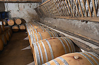 Chateau Pech-Redon. La Clape. Languedoc. Barrel cellar. France. Europe.