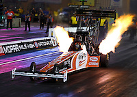 Jul. 19, 2013; Morrison, CO, USA: NHRA top fuel dragster driver Clay Millican during qualifying for the Mile High Nationals at Bandimere Speedway. Mandatory Credit: Mark J. Rebilas-