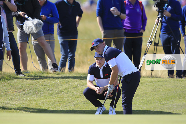 Conor Purcell (GB&I) and Alex Fitzpatrick (GB&I) on the 17th during Day 2 Foursomes of the Walker Cup, Royal Liverpool Golf CLub, Hoylake, Cheshire, England. 08/09/2019.<br /> Picture Thos Caffrey / Golffile.ie<br /> <br /> All photo usage must carry mandatory copyright credit (© Golffile | Thos Caffrey)