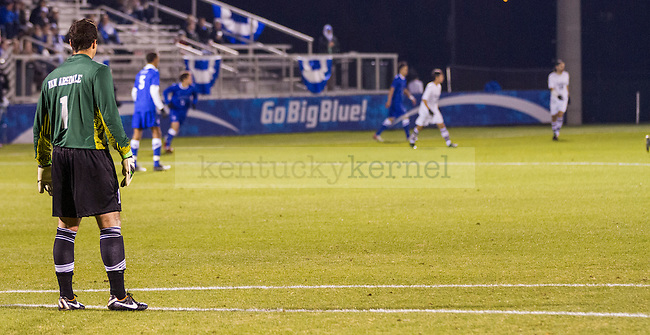 UK goalkeeper Jack Van Arsdale directs the Wildcat  defense from in front of his net.