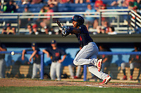 State College Spikes center fielder Anthony Ray (3) lays down a bunt during a game against the Batavia Muckdogs on June 24, 2016 at Dwyer Stadium in Batavia, New York.  State College defeated Batavia 10-3.  (Mike Janes/Four Seam Images)