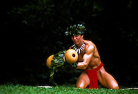 Hawaiian man dancing a hula  with ipuheke gourd instrument and haku lei