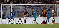 Calcio, Champions League, Gruppo E: Roma vs Barcellona. Roma, stadio Olimpico, 16 settembre 2015.<br /> FC Barcelona&rsquo;s Luis Suarez, third from left, celebrates after scoring during a Champions League, Group E football match between Roma and FC Barcelona, at Rome's Olympic stadium, 16 September 2015.<br /> UPDATE IMAGES PRESS/Isabella Bonotto