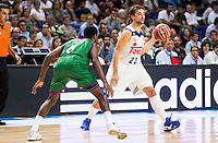 Real Madrid's player Sergio Llull and Unicaja Malaga's player Kyle Fogg during match of Liga Endesa at Barclaycard Center in Madrid. September 30, Spain. 2016. (ALTERPHOTOS/BorjaB.Hojas) /NORTEPHOTO.COM