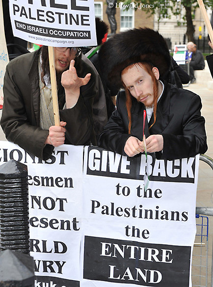 Orthodox Jews show their support during Palestine Solidarity Campaign rally opposite Downing Street. London 14th May 2011