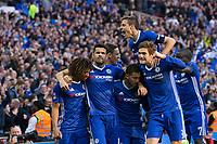 Chelsea players celebrate their sides third goal   <br /> <br /> <br /> Photographer Craig Mercer/CameraSport<br /> <br /> Emirates FA Cup Semi-Final - Chelsea v Tottenham Hotspur - Saturday 22nd April 2017 - Wembley Stadium - London<br />  <br /> World Copyright &copy; 2017 CameraSport. All rights reserved. 43 Linden Ave. Countesthorpe. Leicester. England. LE8 5PG - Tel: +44 (0) 116 277 4147 - admin@camerasport.com - www.camerasport.com