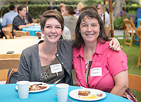Columbia Shafer and her mother Cassandra Shafer. Graduating seniors and their families and friends attend Brunch with President Jonathan Veitch at Collins House, May 16, 2015. (Photo by Marc Campos, Occidental College Photographer)