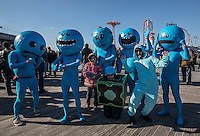 BROOKlLYN, NY - JANUARY 01 : People in costumes take part in the annual Coney Island Polar Bear Club New Year's Day swim by running into the ocean at Coney Island , Brooklyn on January 01, 2017. Photo by VIEWpress/Maite H. Mateo.