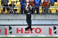 Blackcaps Colin Munro talks the catch of Ben Stokes during the Third ODI game between Black Caps v England, Westpac Stadium, Wellington, Saturday 03rd March 2018. Copyright Photo: Raghavan Venugopal / © www.Photosport.nz 2018