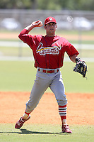 St. Louis Cardinals minor league player Greg Garcia during a spring training game vs the New York Mets at the Roger Dean Sports Complex in Jupiter, Florida;  March 24, 2011.  Photo By Mike Janes/Four Seam Images