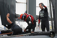 Sir Ben Ainslie (GBR) Land Rover BAR team principal and skipper is delighted after winning the regatta during day two of the Louis Vuitton America's Cup World Series racing, Portsmouth, United Kingdom. (Photo by Rob Munro/Stewart Communications)