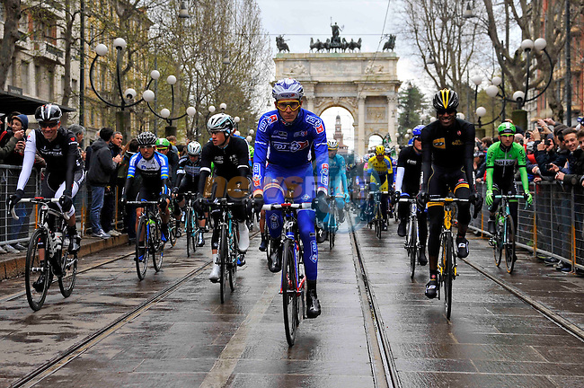 The 105th Milan–Sanremo 2014, organised by RCS Sport/La Gazzetta dello Sport, the first of the five Monuments of the 2014 international cycling season, started under grey skies. <br /> At 10.05, the peloton of 200 riders passed Km 0 (Via della Chiesa Rossa), Milan, Italy. 23rd March 2014.     <br /> Photo: Daniele Bottallo/LaPresse/www.newsfile.ie