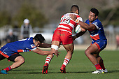 Rodney Tongotea is tackled by Jonathan Taumateine and Fotu Lokotui. Counties Manukau Premier Club Rugby Semi-final game between Ardmore Marist and Karaka, played at Bruce Pulman Park Papakura, on Saturday July 14th 2018.<br /> Ardmore Marist won the game 53 - 8 after leading 22 - 3 at halftime. <br /> Photo by Richard Spranger.
