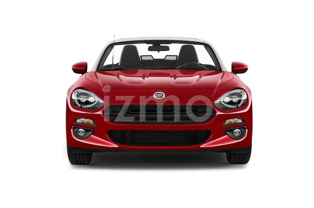 Car photography straight front view of a 2016 Fiat 124-Spider Lusso 2 Door Convertible Front View